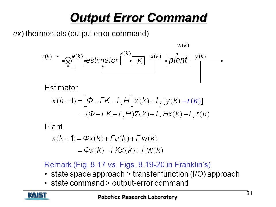 Robotics Research Laboratory 81 Output Error Command ex) thermostats (output error command) Remark (Fig.