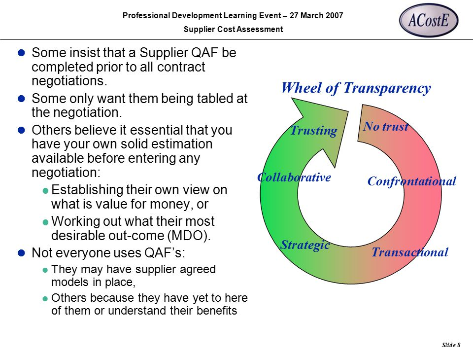 Rolls-Royce Slide 8 Professional Development Learning Event – 27 March 2007 Supplier Cost Assessment Some insist that a Supplier QAF be completed prio