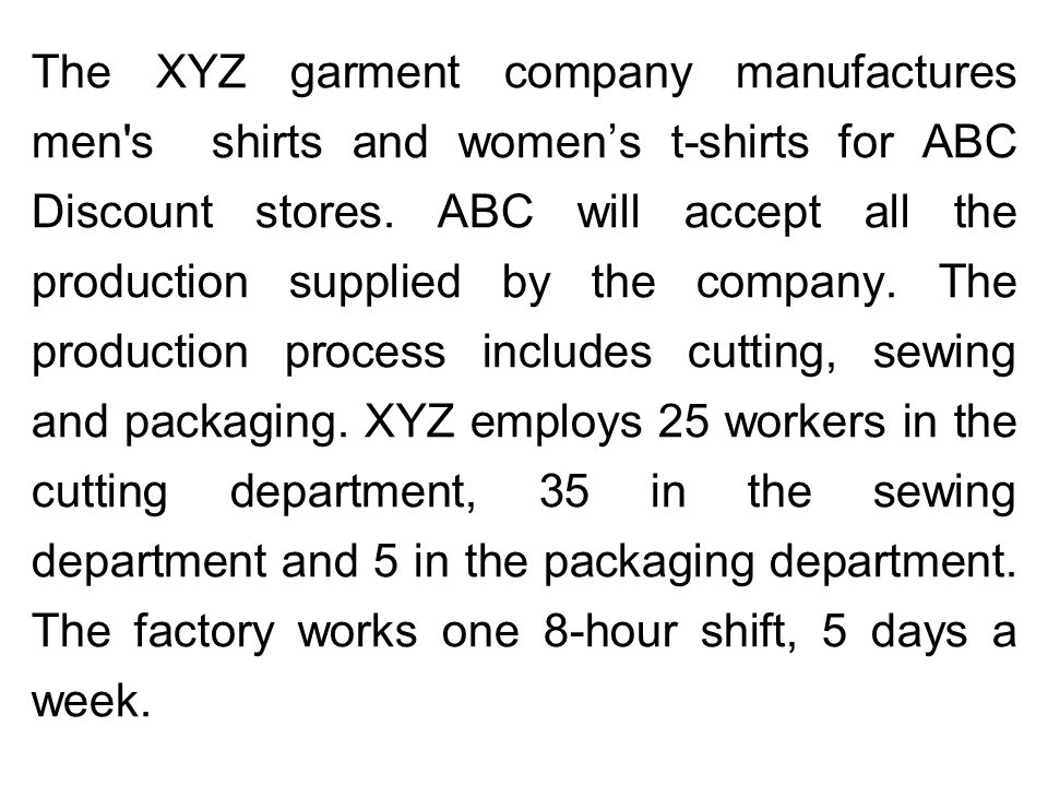 The XYZ garment company manufactures men s shirts and women's t-shirts for ABC Discount stores.