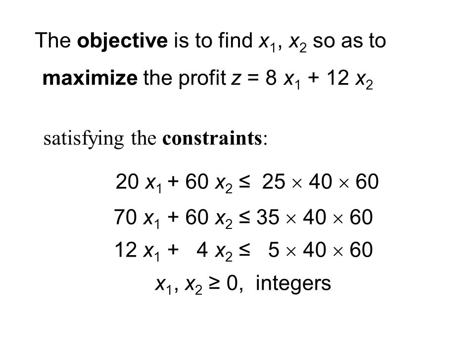 maximize the profit z = 8 x x 2 The objective is to find x 1, x 2 so as to satisfying the constraints: 20 x x 2 ≤ 25  40  x x 2 ≤ 35  40  x x 2 ≤ 5  40  60 x 1, x 2 ≥ 0, integers