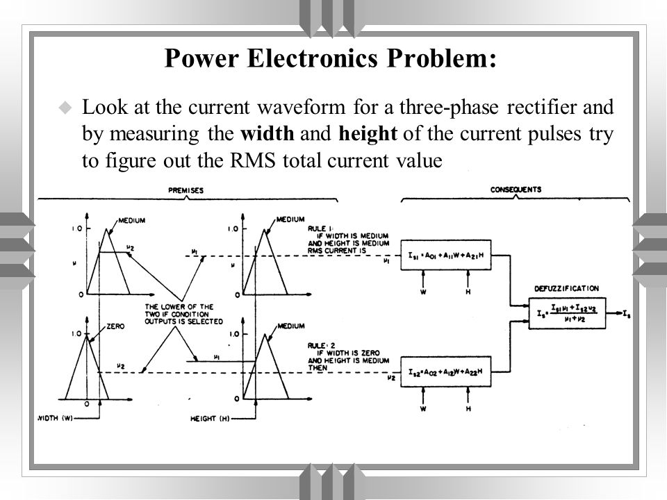 Power Electronics Problem: u Look at the current waveform for a three-phase rectifier and by measuring the width and height of the current pulses try to figure out the RMS total current value