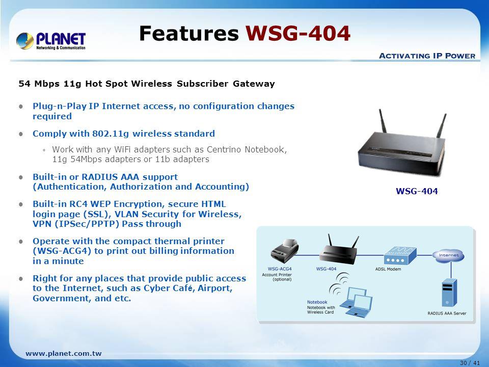 30 / 41 www.planet.com.tw Features WSG-404 54 Mbps 11g Hot Spot Wireless Subscriber Gateway Plug-n-Play IP Internet access, no configuration changes required Comply with 802.11g wireless standard Work with any WiFi adapters such as Centrino Notebook, 11g 54Mbps adapters or 11b adapters Built-in or RADIUS AAA support (Authentication, Authorization and Accounting) Built-in RC4 WEP Encryption, secure HTML login page (SSL), VLAN Security for Wireless, VPN (IPSec/PPTP) Pass through Operate with the compact thermal printer (WSG-ACG4) to print out billing information in a minute Right for any places that provide public access to the Internet, such as Cyber Caf é, Airport, Government, and etc.