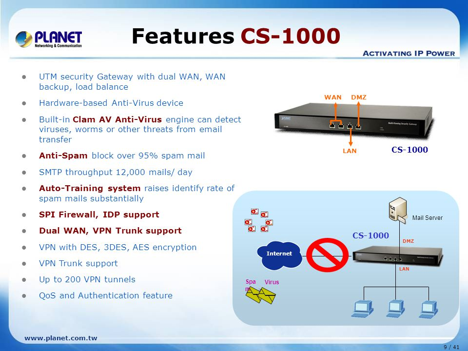 9 / 41 www.planet.com.tw Mail Server CS-1000 Internet DMZ LAN Features CS-1000 UTM security Gateway with dual WAN, WAN backup, load balance Hardware-based Anti-Virus device Built-in Clam AV Anti-Virus engine can detect viruses, worms or other threats from email transfer Anti-Spam block over 95% spam mail SMTP throughput 12,000 mails/ day Auto-Training system raises identify rate of spam mails substantially SPI Firewall, IDP support Dual WAN, VPN Trunk support VPN with DES, 3DES, AES encryption VPN Trunk support Up to 200 VPN tunnels QoS and Authentication feature CS-1000 LAN WAN DMZ Spa m Virus
