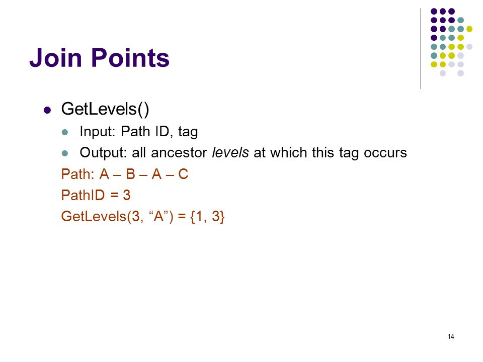 14 Join Points GetLevels() Input: Path ID, tag Output: all ancestor levels at which this tag occurs Path: A – B – A – C PathID = 3 GetLevels(3, A ) = {1, 3}