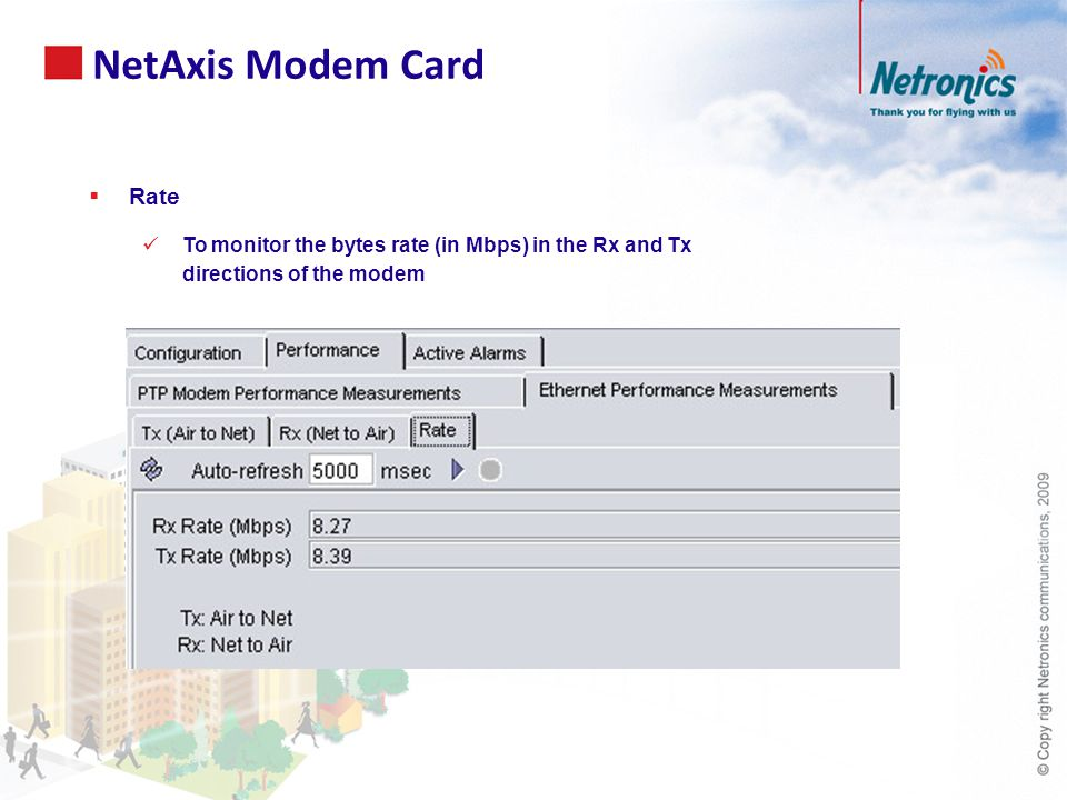  Rate To monitor the bytes rate (in Mbps) in the Rx and Tx directions of the modem NetAxis Modem Card
