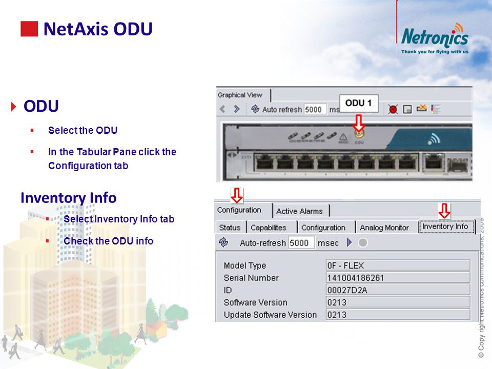 Inventory Info  Select Inventory Info tab  Check the ODU info NetAxis ODU  ODU  Select the ODU  In the Tabular Pane click the Configuration tab