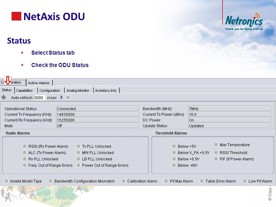 Status  Select Status tab  Check the ODU Status NetAxis ODU