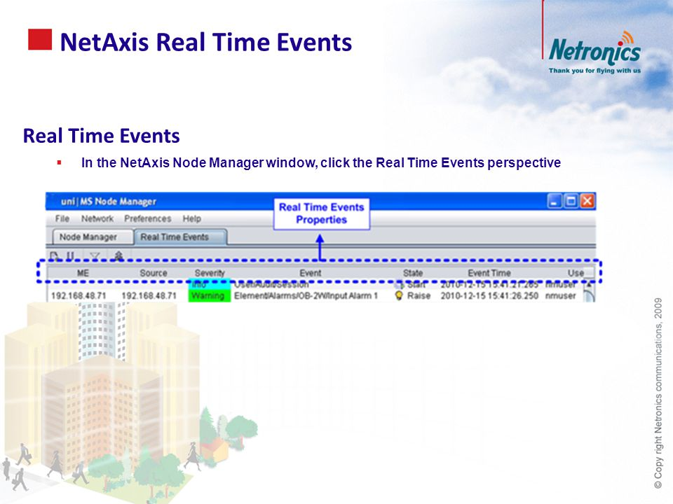 NetAxis Real Time Events Real Time Events  In the NetAxis Node Manager window, click the Real Time Events perspective