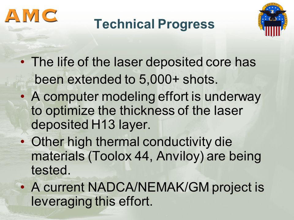 Technical Progress The life of the laser deposited core has been extended to 5,000+ shots.