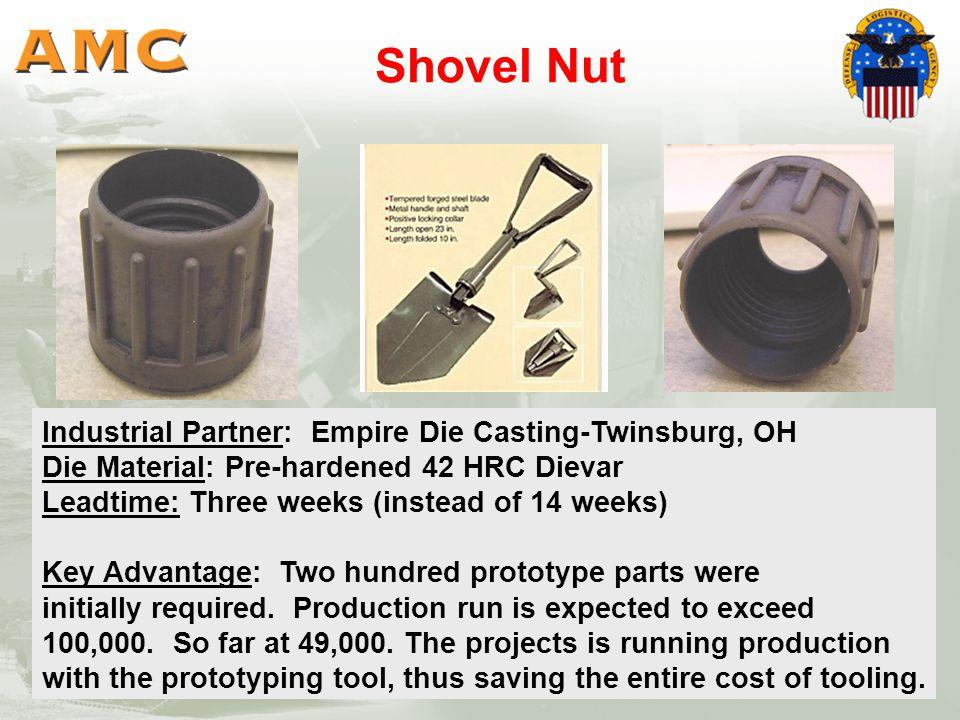 Shovel Nut DLA part. Industrial Partner: Empire Die Casting-Twinsburg, OH Die Material: Pre-hardened 42 HRC Dievar Leadtime: Three weeks (instead of 1