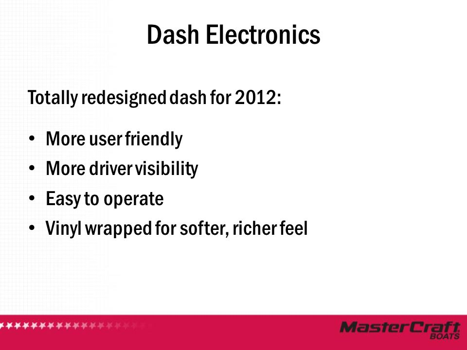 Dash Electronics Totally redesigned dash for 2012: More user friendly More driver visibility Easy to operate Vinyl wrapped for softer, richer feel