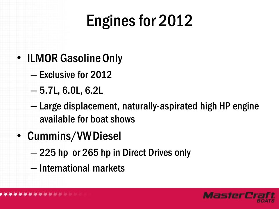 Engines for 2012 ILMOR Gasoline Only – Exclusive for 2012 – 5.7L, 6.0L, 6.2L – Large displacement, naturally-aspirated high HP engine available for bo