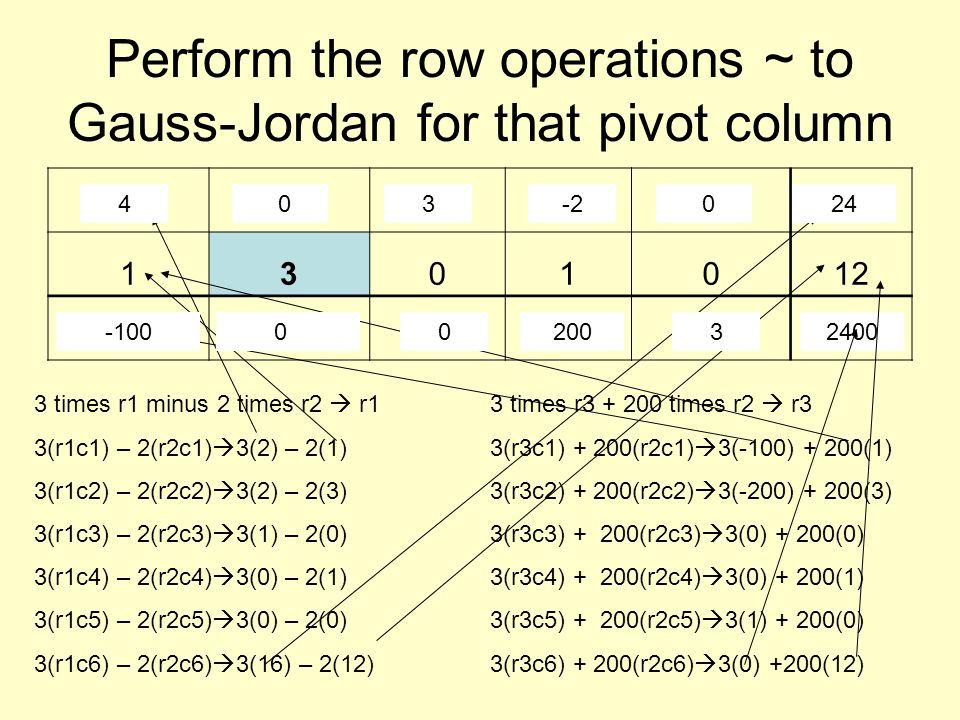 Perform the row operations ~ to Gauss-Jordan for that pivot column 2210016 1301012 -100-2000010 3 times r1 minus 2 times r2  r1 3(r1c1) – 2(r2c1)  3(2) – 2(1) 3(r1c2) – 2(r2c2)  3(2) – 2(3) 3(r1c3) – 2(r2c3)  3(1) – 2(0) 3(r1c4) – 2(r2c4)  3(0) – 2(1) 3(r1c5) – 2(r2c5)  3(0) – 2(0) 3(r1c6) – 2(r2c6)  3(16) – 2(12) 6 - 246 -603 - 030 - 2-20 - 0048 - 2424 3 times r3 + 200 times r2  r3 3(r3c1) + 200(r2c1)  3(-100) + 200(1) 3(r3c2) + 200(r2c2)  3(-200) + 200(3) 3(r3c3) + 200(r2c3)  3(0) + 200(0) 3(r3c4) + 200(r2c4)  3(0) + 200(1) 3(r3c5) + 200(r2c5)  3(1) + 200(0) 3(r3c6) + 200(r2c6)  3(0) +200(12) -300+200-100-600+60000 + 000 + 2002003 + 03 0 + 2400 2400