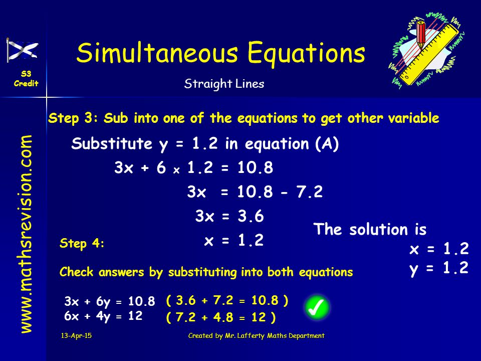 www.mathsrevision.com Simultaneous Equations S3 Credit Straight Lines 13-Apr-15Created by Mr. Lafferty Maths Department Step 3: Sub into one of the eq