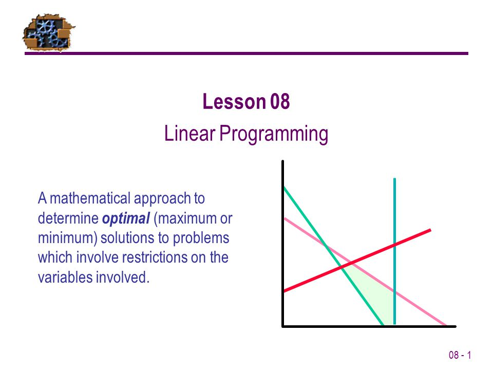 08 - 1 Lesson 08 Linear Programming A mathematical approach to determine optimal (maximum or minimum) solutions to problems which involve restrictions
