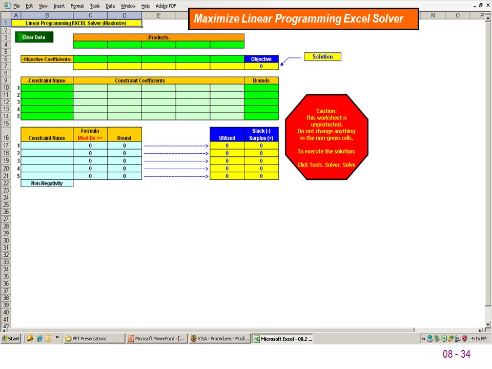 08 - 34 Maximize Linear Programming Excel Solver