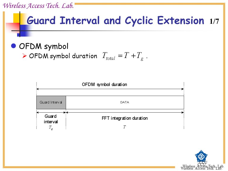 Wireless Access Tech. Lab. CCU Wireless Access Tech. Lab. CCU Wireless Access Tech. Lab. Guard Interval and Cyclic Extension OFDM symbol  OFDM symbol