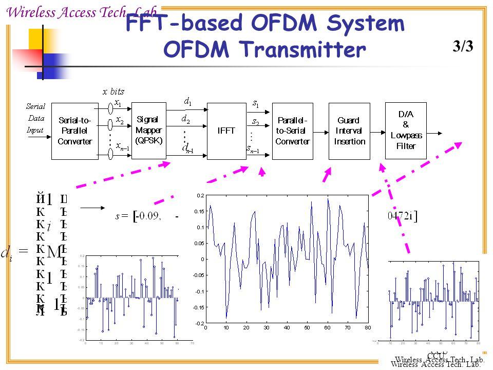 Wireless Access Tech. Lab. CCU Wireless Access Tech. Lab. CCU Wireless Access Tech. Lab. FFT-based OFDM System OFDM Transmitter DATA CP 3/3