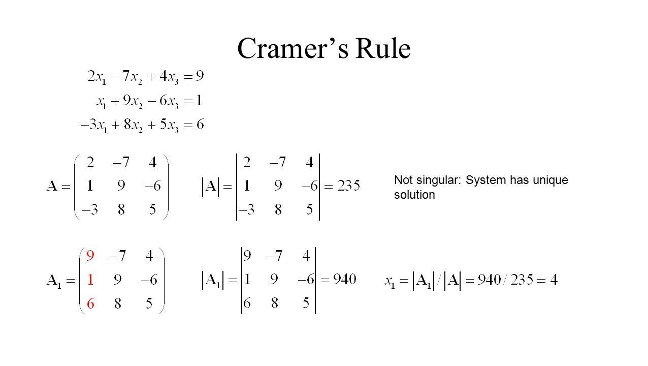 Cramer's Rule Not singular: System has unique solution