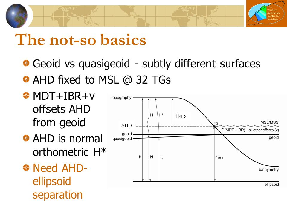 The not-so basics Geoid vs quasigeoid - subtly different surfaces AHD fixed to MSL @ 32 TGs MDT+IBR+v offsets AHD from geoid AHD is normal orthometric