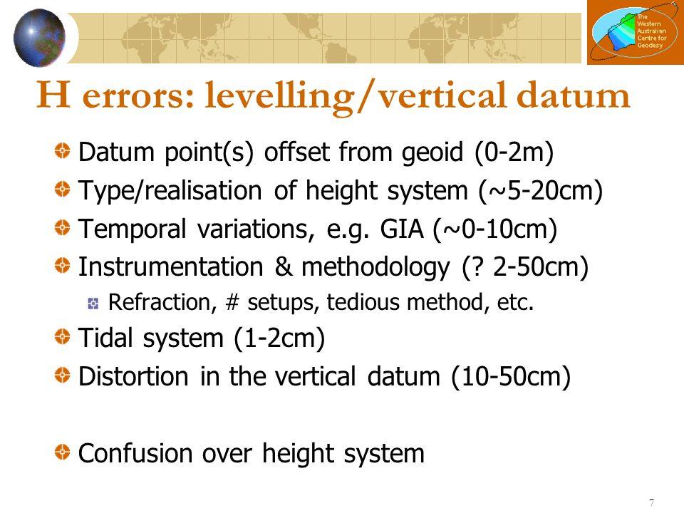 8 h errors: GNSS ellipsoidal heights Vintage of data (2-10cm) e.g.