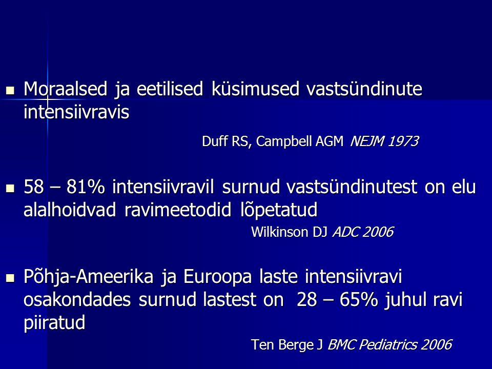 Moraalsed ja eetilised küsimused vastsündinute intensiivravis Moraalsed ja eetilised küsimused vastsündinute intensiivravis Duff RS, Campbell AGM NEJM 1973 58 – 81% intensiivravil surnud vastsündinutest on elu alalhoidvad ravimeetodid lõpetatud 58 – 81% intensiivravil surnud vastsündinutest on elu alalhoidvad ravimeetodid lõpetatud Wilkinson DJ ADC 2006 Põhja-Ameerika ja Euroopa laste intensiivravi osakondades surnud lastest on 28 – 65% juhul ravi piiratud Põhja-Ameerika ja Euroopa laste intensiivravi osakondades surnud lastest on 28 – 65% juhul ravi piiratud Ten Berge J BMC Pediatrics 2006