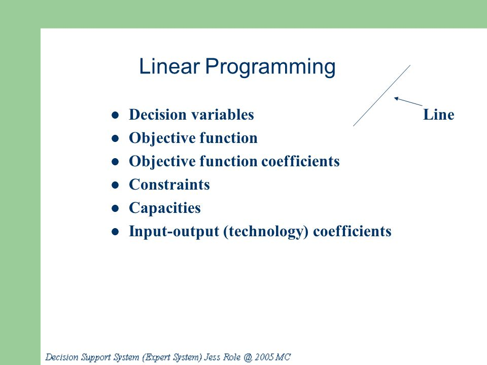 Linear Programming Decision variables Objective function Objective function coefficients Constraints Capacities Input-output (technology) coefficients