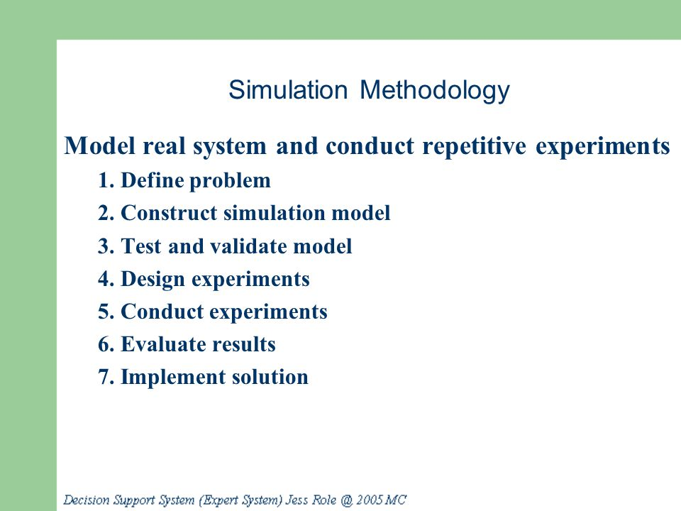 Simulation Methodology Model real system and conduct repetitive experiments 1. Define problem 2. Construct simulation model 3. Test and validate model