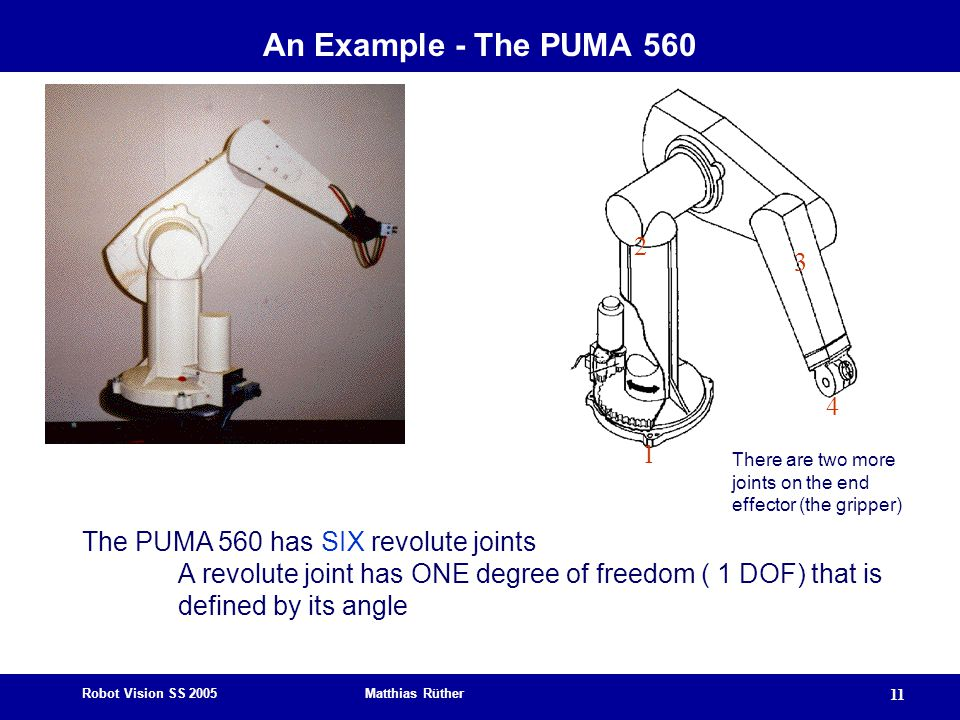 Robot Vision SS 2005 Matthias Rüther 11 The PUMA 560 has SIX revolute joints A revolute joint has ONE degree of freedom ( 1 DOF) that is defined by it