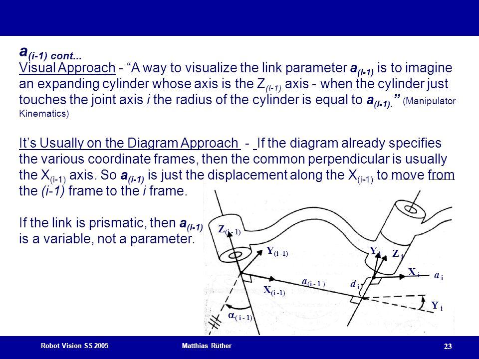 Robot Vision SS 2005 Matthias Rüther 23 Z (i - 1) X (i -1) Y (i -1)  ( i - 1) a (i - 1 ) Z i Y i X i a i d id i  i a (i-1) cont... Visual Approach -