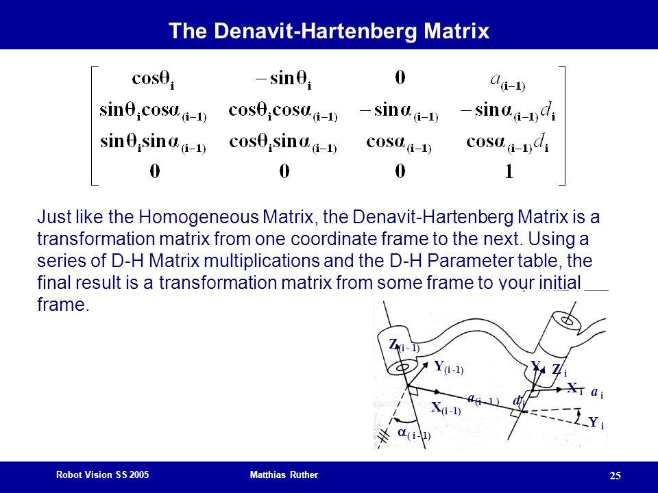 Robot Vision SS 2005 Matthias Rüther 25 Just like the Homogeneous Matrix, the Denavit-Hartenberg Matrix is a transformation matrix from one coordinate