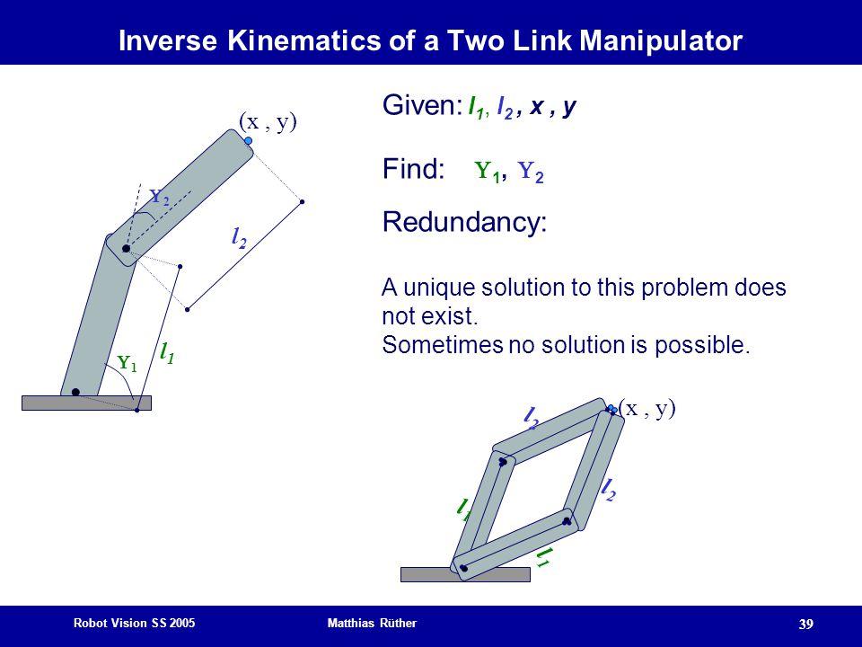 Robot Vision SS 2005 Matthias Rüther 39 22 11 (x, y) l2l2 l1l1 Given: l 1, l 2, x, y Find:  1,  2 Redundancy: A unique solution to this problem