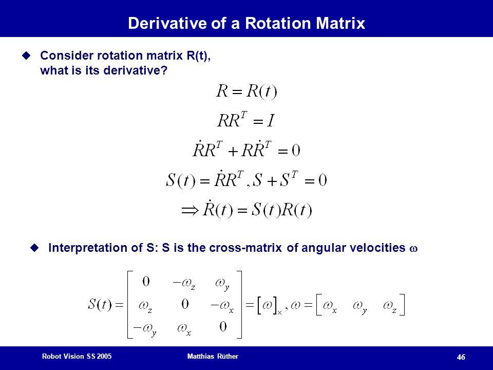 Robot Vision SS 2005 Matthias Rüther 46 Derivative of a Rotation Matrix  Consider rotation matrix R(t), what is its derivative?  Interpretation of S
