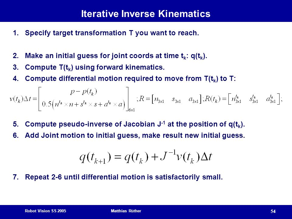 Robot Vision SS 2005 Matthias Rüther 54 Iterative Inverse Kinematics 1.Specify target transformation T you want to reach. 2.Make an initial guess for