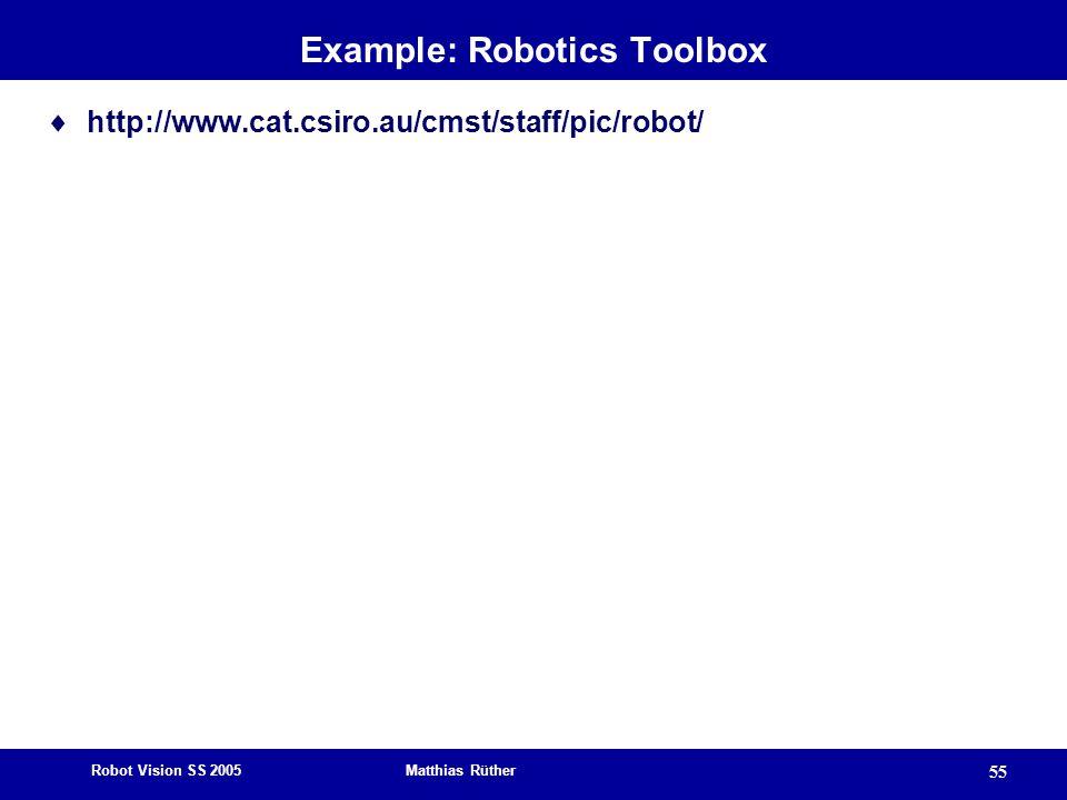 Robot Vision SS 2005 Matthias Rüther 55 Example: Robotics Toolbox  http://www.cat.csiro.au/cmst/staff/pic/robot/