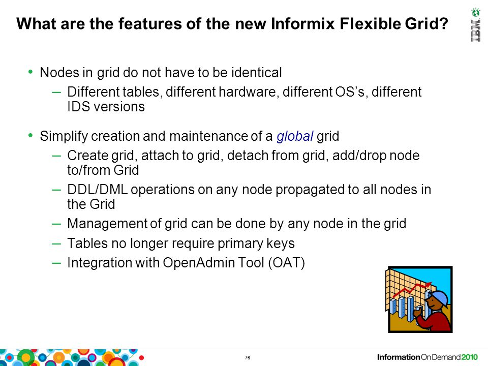 76 What are the features of the new Informix Flexible Grid? Nodes in grid do not have to be identical – Different tables, different hardware, differen
