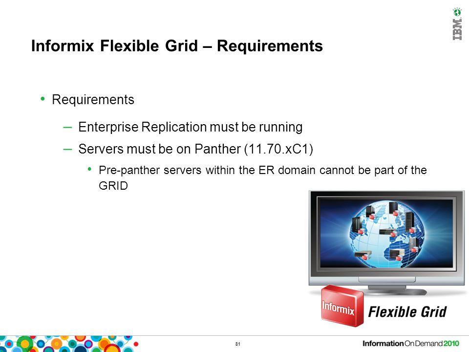 81 Informix Flexible Grid – Requirements Requirements – Enterprise Replication must be running – Servers must be on Panther (11.70.xC1) Pre-panther se