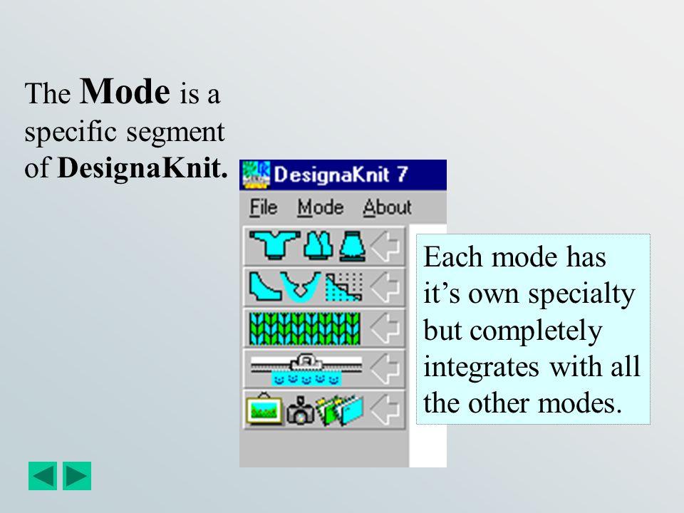 Standard Garment Styling Mode Original Pattern Drafting Mode Stitch Designer Mode Interactive Knitting Mode Graphic Studio Mode Drop Down Menu choices