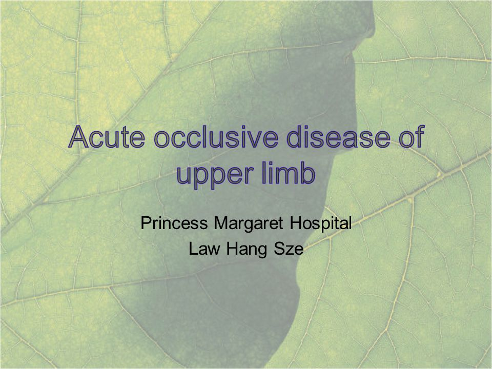 A review of over 20 years All operative or endovascular upper limb revascularization between 6/1983 and July 2003 184 procedures in 172 patients 35% due to thromboembolic event 31% due to trauma 17% atherosclerosis Upper limb ischaemia: 20 years experience from a single centre Vascular 2005 Mar-Apr; 13(2): 84-91 Deguara J, Ali T, Modarai B