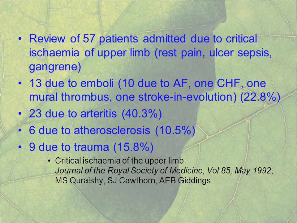 Review of 57 patients admitted due to critical ischaemia of upper limb (rest pain, ulcer sepsis, gangrene) 13 due to emboli (10 due to AF, one CHF, on