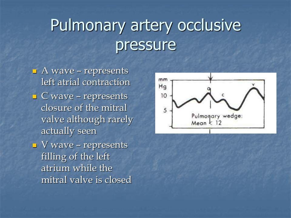 Pulmonary artery occlusive pressure A wave – represents left atrial contraction A wave – represents left atrial contraction C wave – represents closur