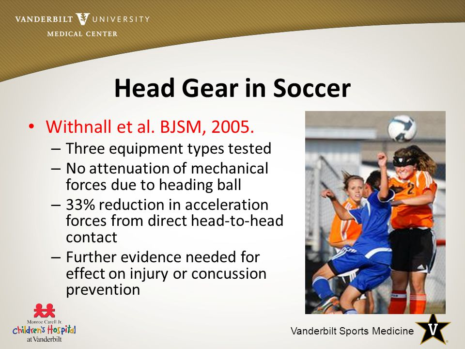 Vanderbilt Sports Medicine Head Gear in Soccer Withnall et al.