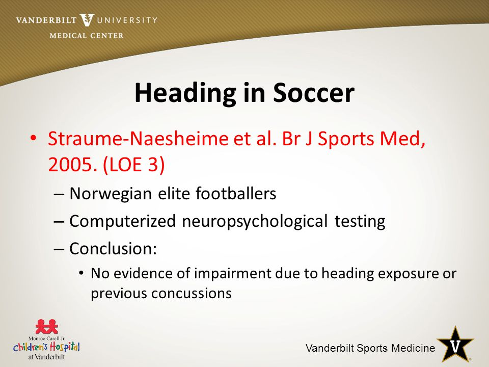 Vanderbilt Sports Medicine Heading in Soccer Straume-Naesheime et al.