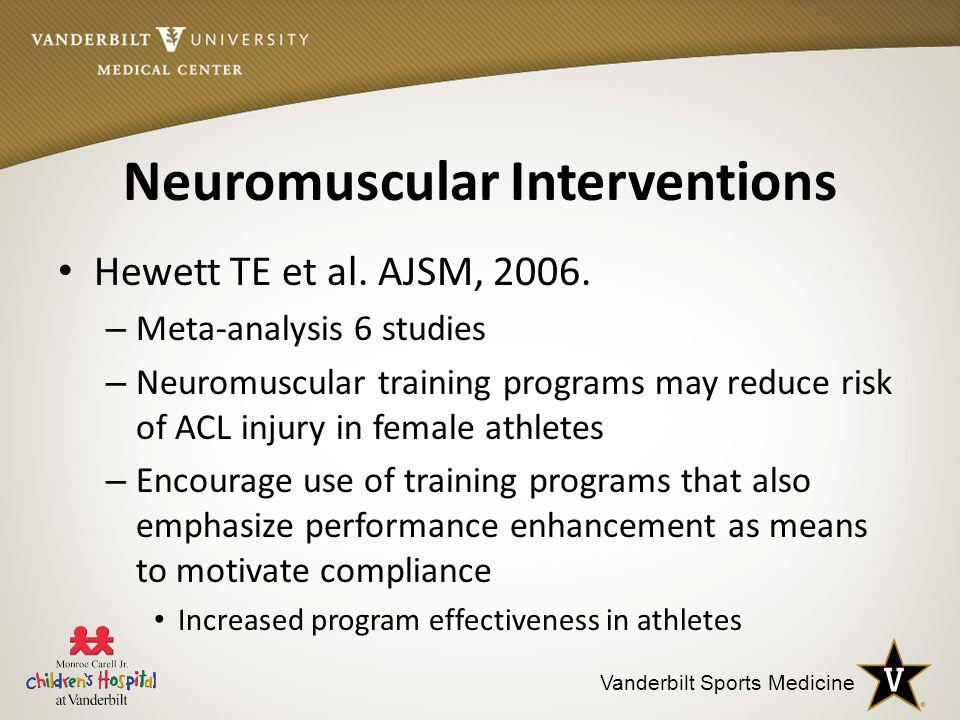 Vanderbilt Sports Medicine Neuromuscular Interventions Hewett TE et al.