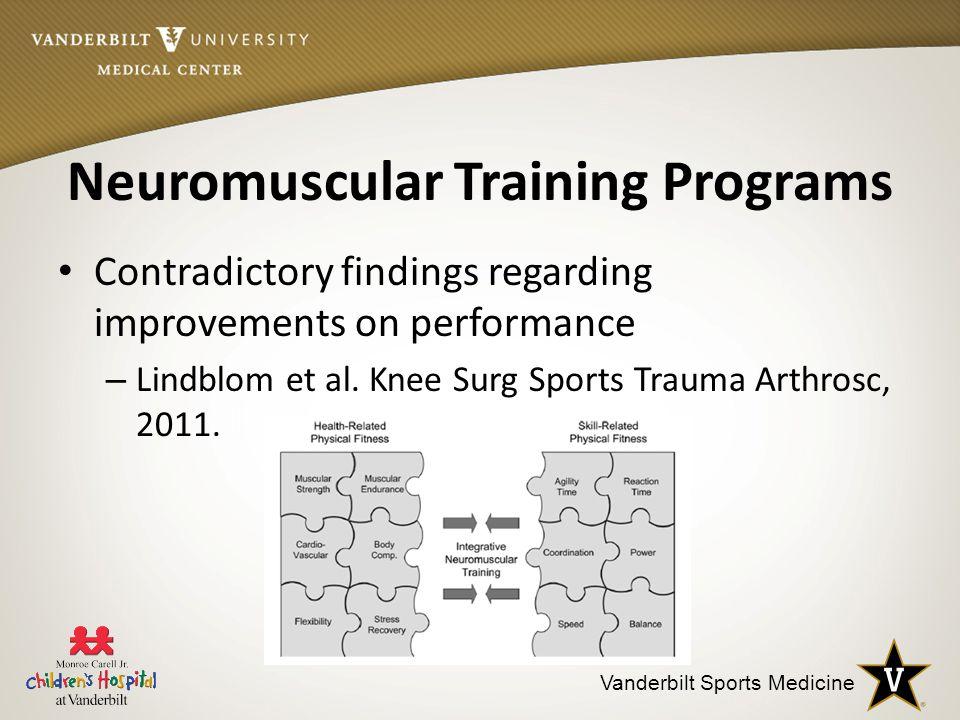 Vanderbilt Sports Medicine Neuromuscular Training Programs Contradictory findings regarding improvements on performance – Lindblom et al.