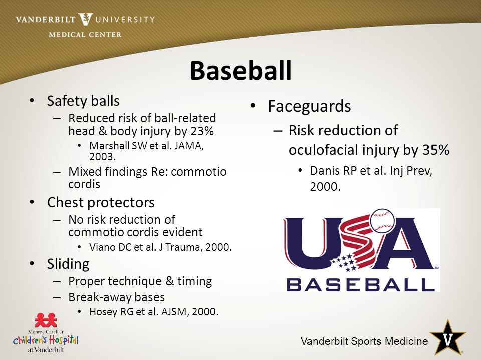 Vanderbilt Sports Medicine Baseball Safety balls – Reduced risk of ball-related head & body injury by 23% Marshall SW et al.
