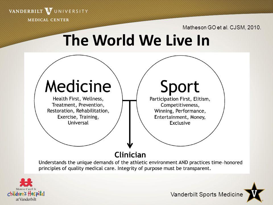 Vanderbilt Sports Medicine The World We Live In Matheson GO et al. CJSM, 2010.