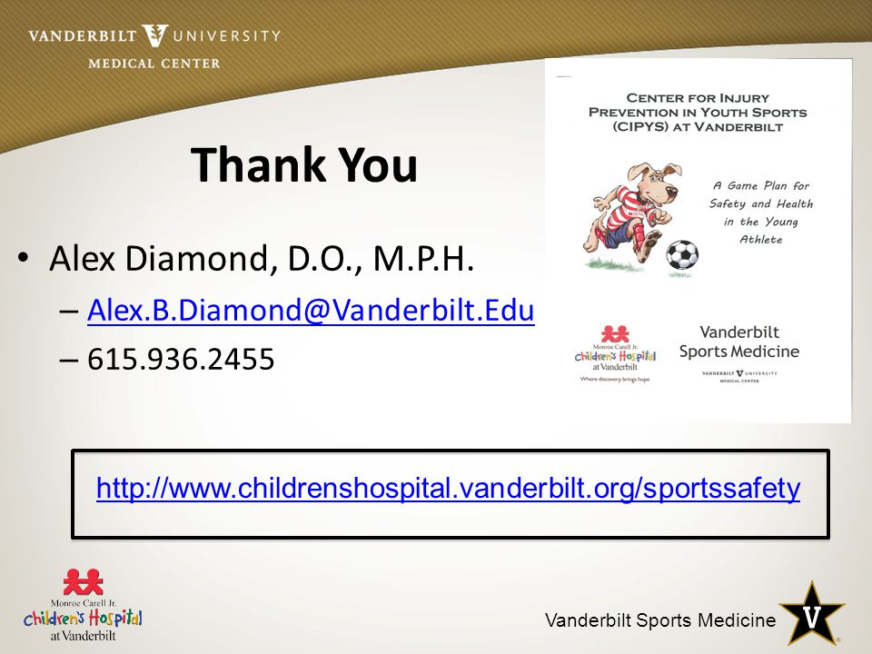 Vanderbilt Sports Medicine Thank You Alex Diamond, D.O., M.P.H.