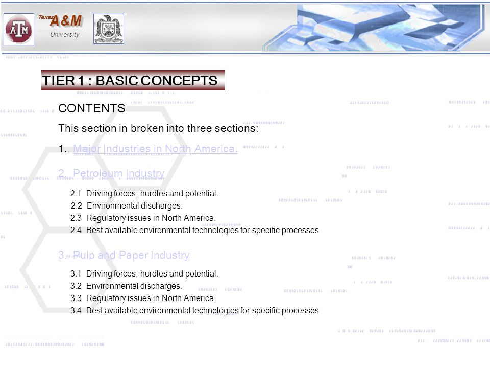 A&MA&M University Texas 2.3.4 ENVIRONMENTAL DISCHARGES BY PROCESS PART 3