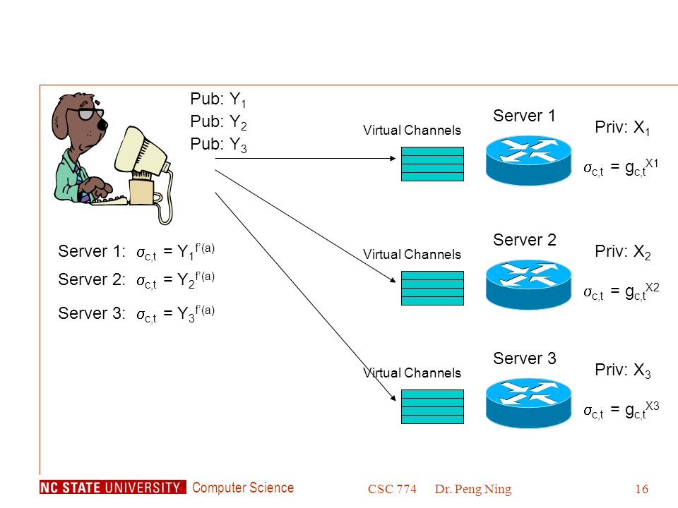 Computer Science CSC 774Dr. Peng Ning16 Priv: X 1 Server 1 Pub: Y 1 Virtual Channels Server 1:  c,t = Y 1 f'(a)  c,t = g c,t X1 Server 2:  c,t = Y